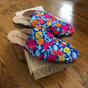 Free People Floral Embroidered Mule Shoes Size 40